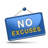 image of apologize  - No excuses sign or icon apologies - JPG