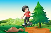 stock photo of hilltop  - Illustration of a young boy skateboarding at the hilltop - JPG