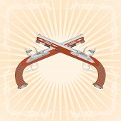 pic of divergent  - Two old pistol on abstract diverging rays - JPG