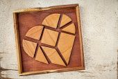 stock photo of tangram  - broken heart  - JPG