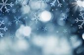 Winter Holiday Snow Background. Christmas Abstract Defocused Backdrop with Snowflakes. Bokeh poster