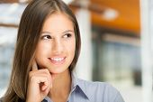 stock photo of women rights  - Portrait of a young smiling beautiful woman - JPG