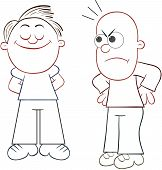 picture of pelade  - Cartoon bald man looking angrily to haired man - JPG
