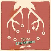 pic of antlers  - illustration of Christmas Reindeer in retro holiday background - JPG