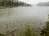 Clear Mountain Lake Steaming After Summer Snowfall