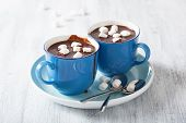 picture of chocolate spoon  - hot chocolate with small marshmallows - JPG