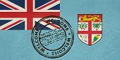 Welcome to Fiji flag with passport stamp