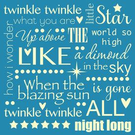 picture of nursery rhyme  - Twinkle Twinkle Little Star Word Art Pastel Blue and Yellow Design - JPG