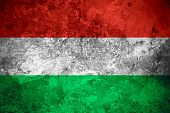 foto of hungarian  - flag of Hungary or Hungarian banner on vintage metal texture - JPG