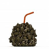 picture of grenades  - illustration of a grenades drink with orange straw - JPG