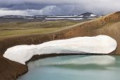 Iceland. Stora-viti Crater With Water. Slope With Snow.