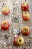 image of hungarian  - bottle and glass filled with hungarian palinka made from apple - JPG