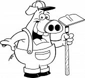 stock photo of hoe  - Black and white illustration of a pig in overalls holding a hoe - JPG