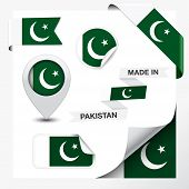 stock photo of pakistani flag  - Made in Pakistan collection of ribbon label stickers pointer badge icon and page curl with Pakistani flag symbol on design element - JPG