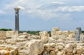 picture of pilaster  - Ruins of ancient town Kourion on Cyprus - JPG