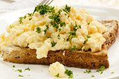 picture of scrambled eggs  - Scrambled eggs on toast - JPG