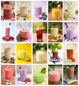stock photo of yogurt  - Collage showing differents drink like smoothies - JPG