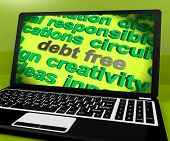 Debt Free Screen Shows Good Credit Or No Debt