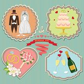 image of wedding feast  - A set of labels with the wedding items for wedding invitations template in retro style - JPG