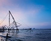 pic of fishnet  - Kochi chinese fishnets on sunset - JPG