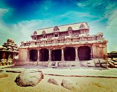 picture of tamil  - Vintage retro hipster style travel image of Five Rathas  - JPG
