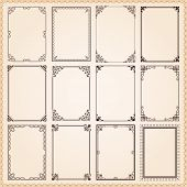 image of flourish  - Decorative vintage frames and borders set vector - JPG