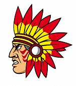 stock photo of valiant  - Native indian people with feathers for mascot and emblems - JPG