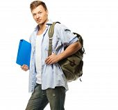 Stylish young student with backpack and folder