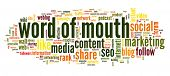 Word of mouth in social media in word tag cloud on white background