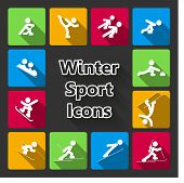 picture of nordic skiing  - Winter sports icons set isolated vector illustration - JPG