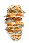 pic of inference  - A giant fresh money sandwich with multiple types of bread and cash demoninations for use on many financial food and economic inferences - JPG