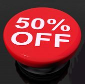 Fifty Percent Button Shows Sale Discount Or 50 Off