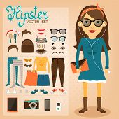 foto of geek  - Hipster character pack for geek girl with accessory clothing and facial elements vector illustration - JPG