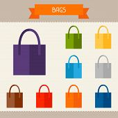 Bags colored templates for your design in flat style.