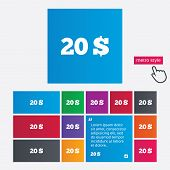 pic of twenty dollars  - 20 Dollars sign icon - JPG
