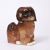 Pekingese Dog ceramic figurine, isolated on white
