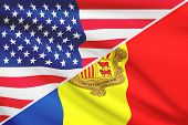 Series Of Ruffled Flags. Usa And Andorra.