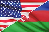 Series Of Ruffled Flags. Usa And Azerbaijan.