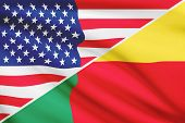 Series Of Ruffled Flags. Usa And Benin.