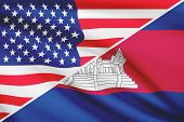 Series Of Ruffled Flags. Usa And Cambodia.