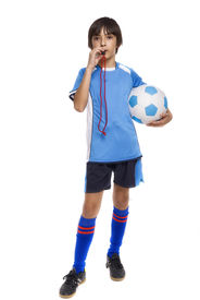 foto of umpire  - child soccer judge with whistle isolated on white background - JPG