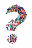 picture of question-mark  - question from the plastic caps isolated on the white background - JPG