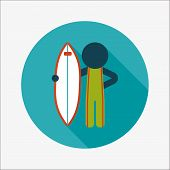 pic of hydroplanes  - Surfing Flat Icon With Long Shadow - JPG