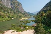 stock photo of ou  - River Nam Ou near Nong Khiao in Laos landscape in the province Luang Prabang - JPG