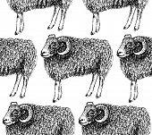 stock photo of ram  - Sketch New Year ram in vintage style seamless pattern - JPG