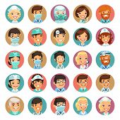 stock photo of respiration  - Doctors Cartoon Characters Icons Set3 - JPG