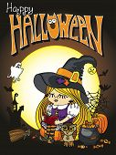 stock photo of bat wings  - Little Halloween Witch girl reading book - JPG