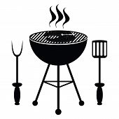picture of dutch oven  - Fish roast on the barbecue grill vector - JPG