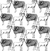 picture of ram  - Sketch New Year ram in vintage style seamless pattern - JPG
