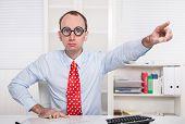 stock photo of nasty  - Aggressive boss says  - JPG